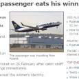 Angry Ryanair passenger eats his winning scratchcard! Patience Fail!