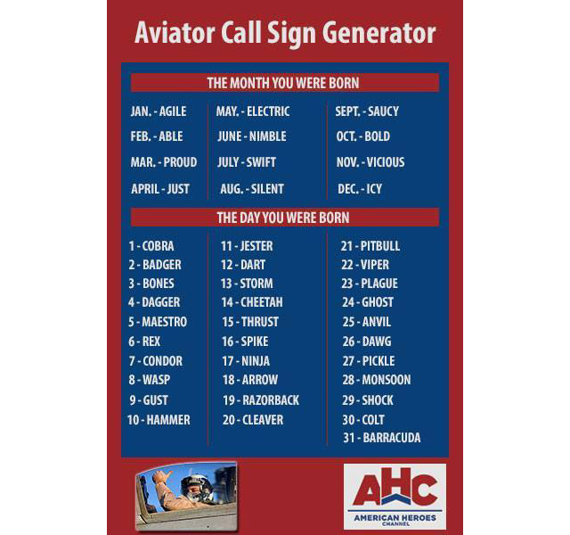 "Aviator Call Sign Generator - What's Your ""Top Gun"" Call Sign"