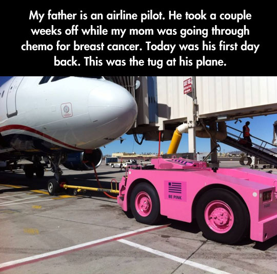 cool-pink-tug-truck-cancer-pilot-airport-People Are Truly Awesome
