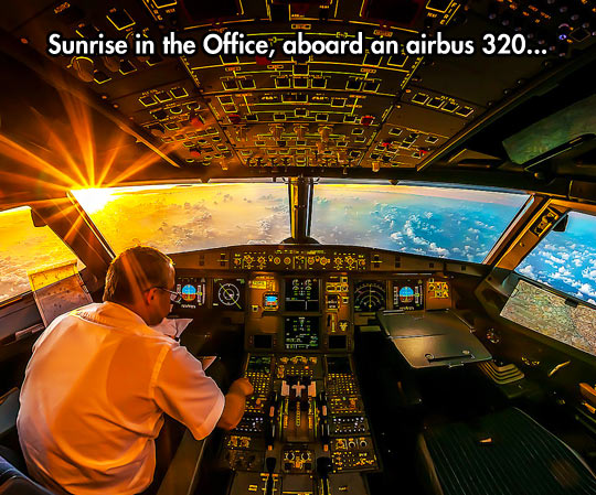 funny-airplane-sun-pilot-sky-cloud- Sunrise Above The Clouds