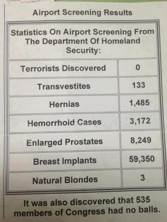 Airport Screening Results