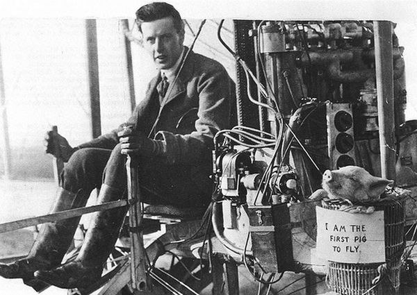 Claude Moore-Brabazon and the first pig to fly
