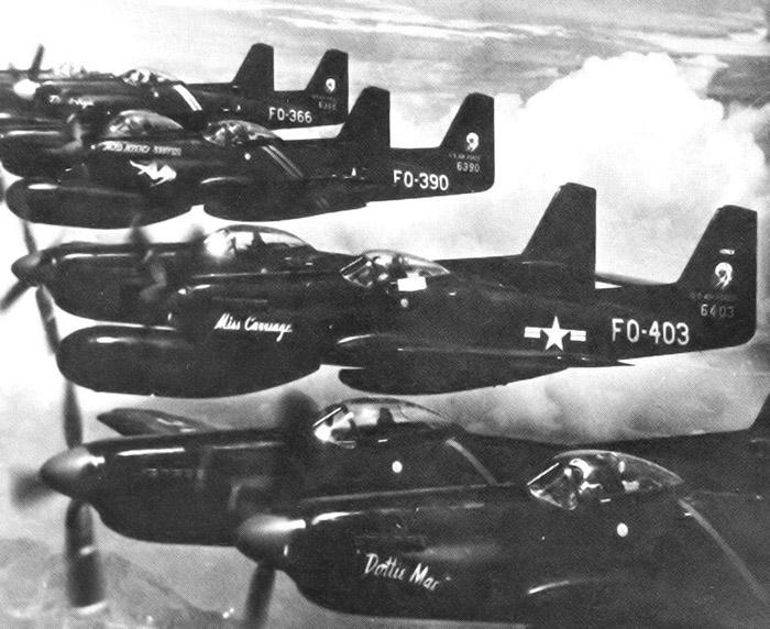 Flight of 339th FS F-82Gs heading to Korea in June 1950.