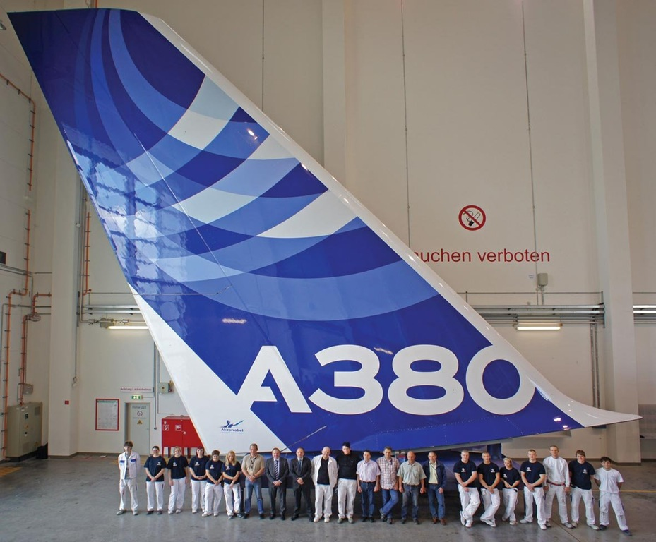 The size of an Airbus A380's tail
