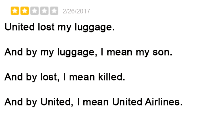 Negative But Hilarious United Airlines Yelp Reviews 3