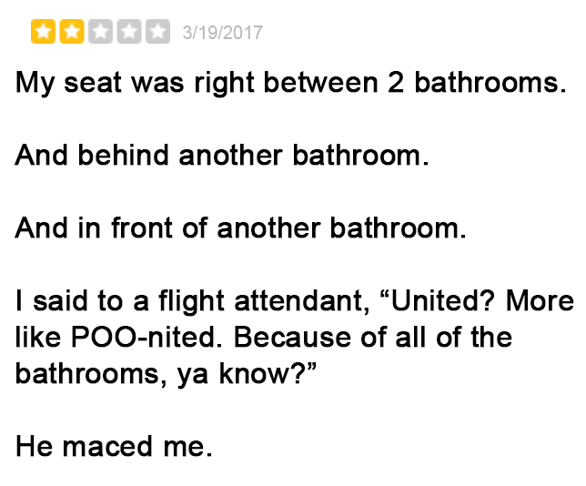 Negative But Hilarious United Airlines Yelp Reviews 4