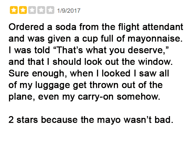 Negative But Hilarious United Airlines Yelp Reviews 7