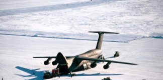 C-5 Galaxy at Pegasus Field, an ice runway near McMurdo Station, Antarctica in 1989