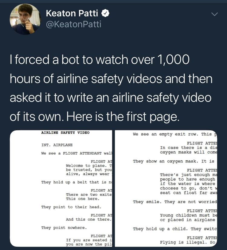 Bot' Tries To Write An Airline Safety Video - Aviation Humor