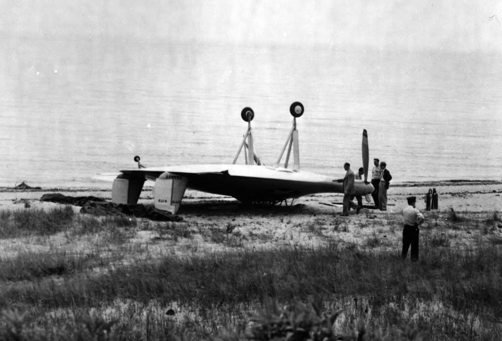Vought V-173 Flying Pancake emergency landing on a beach